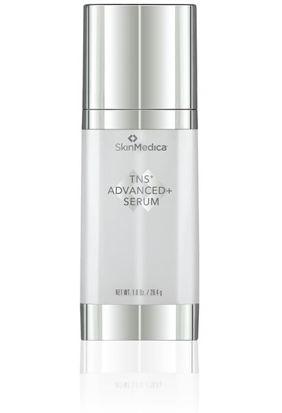 TNS advanced plus anti-aging product in silver and white serum bottle