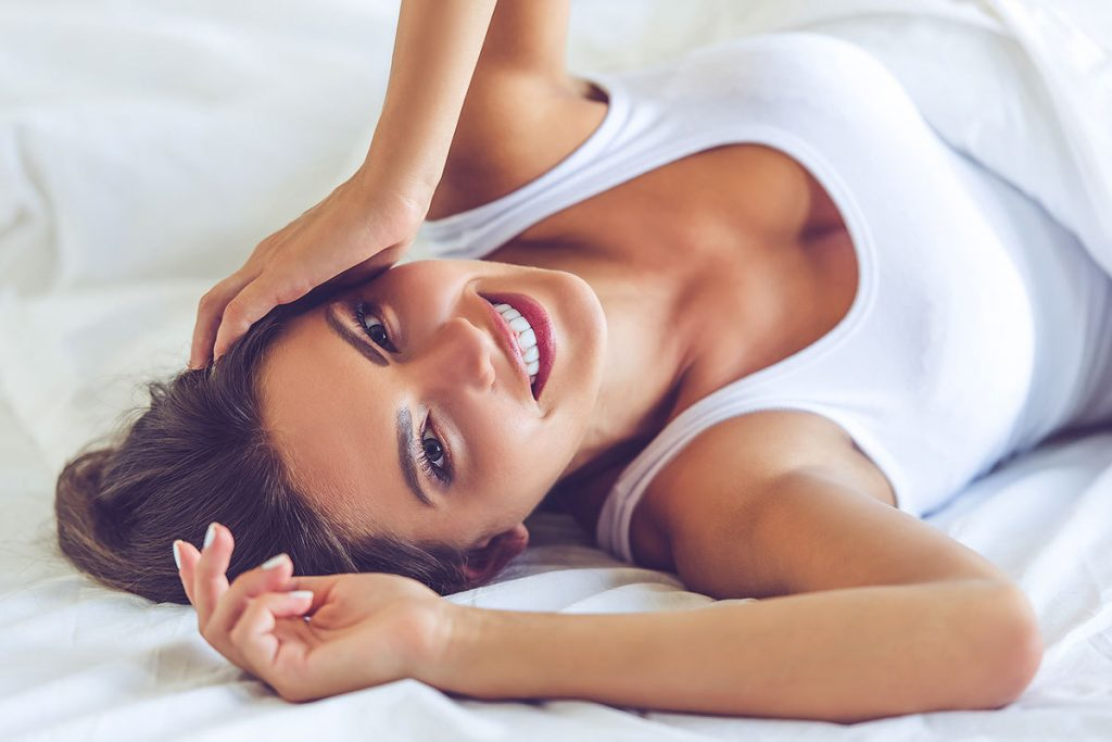 Woman Smiling After Natural Breast Augmentation Fat Transfer at Beauty by Buford